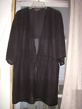 Sz 20 1X Beach Pool Cover Up Sheer Black Draw-String Bell Sleeves Beaded New