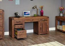 Shiro Premium Solid Walnut Dark Wood Double Pedestal Desk Computer Home Office