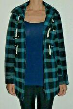 Women's Size XS MATIX Wool Blue Black Check Zip Toggle Hooded Lined Jacket Coat