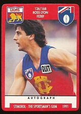 1991 Scanlens Stimorol Fitzroy Lions No. 126 Ross Lyon Fitzroy Near MINT