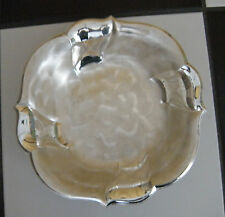 Rare Vinatage Silver Plated w/Mother Pearl Like Accent Footed Fruit/Salad Bowl
