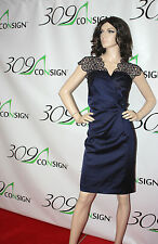 New KM COLLECTIONS Milla Bell 12 Large Navy Blue Floral Lace Eyelet Sequin Dress