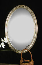"""New 31"""" Antiqued Silver Leaf Finish Oval Wall Vanity Mirror Modern Style Frame"""