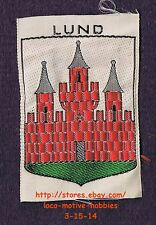 LMH PATCH Woven Badge  LUND  Scania Red Castle COAT ARMS 3 Towers SWEDEN Swedish