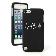 For iPod Touch 5th 6th Gen Black Rubber Hard Case Cover Heart Beats Soccer