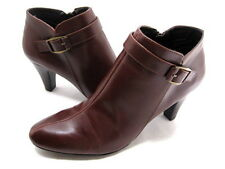 BANDOLINO WOMEN'S FRENCHY MEDIUM-HEEL ANKLE BOOT DARK BROWN LEATHER SIZE 8.5 MED