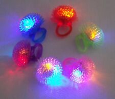 96 pcs Blinking Fluffy Soft Spike Ring with Multi Color LED Light Holiday Favor