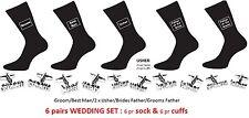 BRIDAL GIFT SET:6 pairs Cut Out Wedding Cufflinks & 6 pairs Black Wedding Socks
