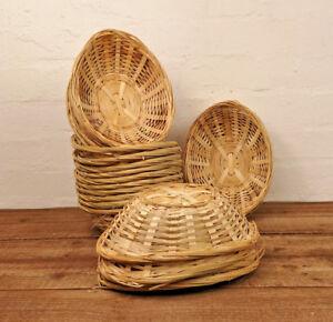 24 x Vintage Oval Natural Bamboo Wicker Bread Basket Storage Hamper Display Tray
