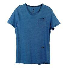 Mens G-star Raw Omaros Pocket T-Shirt Short Sleeve Blue Marl 100% Cotton Size L