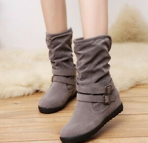 Womens Ladies Flat Faux Suede Slouch Low Heel Wedge Ankle Boots Shoes Size