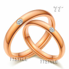 Stainless Steel Cubic Zirconia Engagement & Wedding Ring Sets