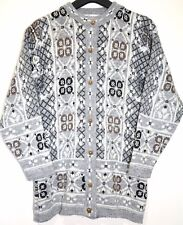 Retro Hipster WelshTapestry Patterned Button Knit Size 14 Grey Knitted Cardigan