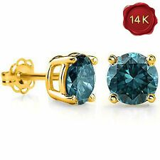 BLUE DIAMOND SOLITAIRE STUD EARRINGS 0.25 CWT 14 k YELLOW GOLD EARTH MINED