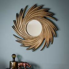 "Claygate Unique Extra Large Round Gold Radial Design Wall Mirror - 40"" 102cm"