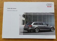 Audi A6 C6 Avant 2007 2011 MY Owners Handbook Manual.