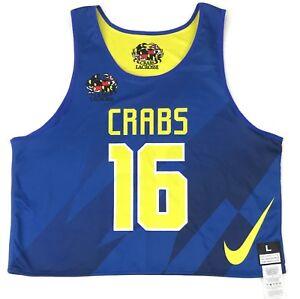 New Nike Men's L Motion Reversible Baltimore Crabs Lacrosse Tank Blue / Yellow
