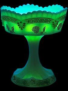 "Northwood URANIUM Custard Glass, ""Chrysanthemum Sprig"" Pattern Compote Bowl"