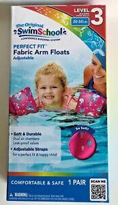 Girls SwimSchool 1 Pair Pink Soft Fabric Arm Floats Floaties Level 3 30-50 Lbs.