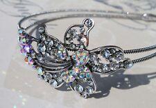 Antique Silver Style Diamanté & clear ab crystal Side tiara headband