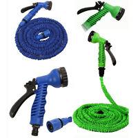 Extendable Garden Water Hose Pipe w/ Spray Nozzle Gun 25 50 75 100 FT Flexible