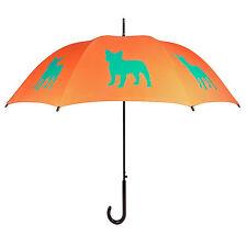 San Francisco Umbrella Company French Bulldog Umbrella - Turquoise on Orange