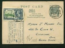 1935 Silver Jubilee Ceylon 9c on uprated Postal Stationery card to USA