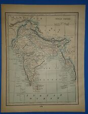 Vintage 1893 INDIA - INDIAN EMPIRE MAP ~ Old Antique Original Atlas Map 111518