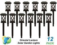12 x LED Solar Temple Oriental Lantern Garden Path Lights Black Cool White DIY
