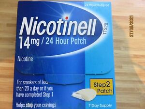 NICOTINELL NICOTINE 14mg 24 HOUR PATCHES STEP 2, 7 DAY SUPPLY NEW