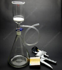 2000ml,Suction Filtration Kit,350ml 70mm Buchner Funnel,2L Flask & Vacuum Pump