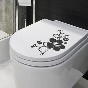 Wandtattoo WC-Deckelaufkleber, Hibiskusblüten Ranke, Wandaufkleber, Wandsticker