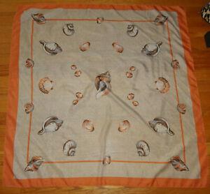 Vintage Peach & White Seashell Scarf pinup retro head wrap neck scarve beach