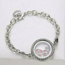 XMAS Gift Living Memory Floating Locket Love Round Crystal Charm Silver Bracelet