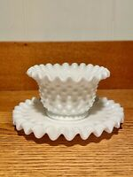 Fenton Ruffled White Milk Glass Hobnail Mayonnaise Bowl With Underplate