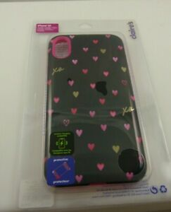 fits iPhone XR phone case wireless charging compatible black pink hearts cover