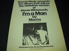 MACHO 1978 Disco Era PROMO POSTER AD I'M A Man ...Jacques Fred Petrus mint cond