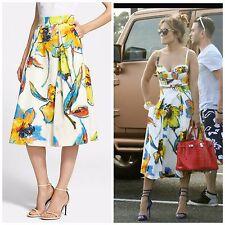 NWT $450 Milly New York 'Luna' Floral Print Pleated Midi Skirt US 0 SEEN ON JLO