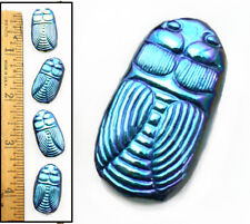 27mm Vintage Czech Glass Blue Ab Scarab Beetle Egyptian Revival Bug Buttons 4pc