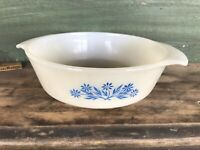 Vintage Fire King Blue Corn Flower Baking Casserole Dish Oval 1 Quart