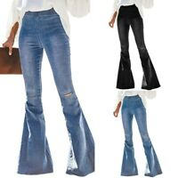 Women Destoryed Flare Jeans Elastic Waist Bell Bottom Denim Pants Solid Plant