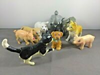 "Miscellaneous Animal Figure Toy Lot 2.5"" - 3.5"" In Length Cat Pig Elephant Bear"