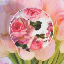 French Roses Wallpaper Ceramic Knob cabinet Drawer Pull bath bedroom room chic