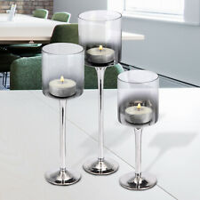 Tealight Candle Holders Set 3 Tall Silver Glass Large Wedding Party Centre Piece