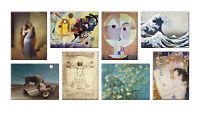 Quadri famosi 8 Pezzi Stampa su Tela con Telaio in Legno arte museo