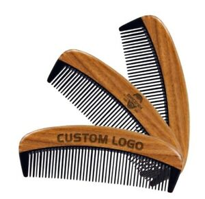 Customized LOGO-Natural GreenSandalWood Beard Comb Hair Comb for Men Women Brush