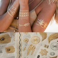 Neu Metallic Flash Tattoos Gold & Silber Schmuck Tattoo Körper Aufkleber Strand