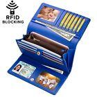 Blue Womens Wallet Lady Genuine Leather Clutch Trifold Purse Holder Card RFID