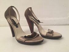 Gian Franco Ferre Silk & Leather Gray Wood Heel Pumps Open Toe SZ 38.5 US 8.5