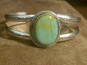 """Royston Turquoise Sterling Silver Cuff Bracelet 7""""- 41g"""